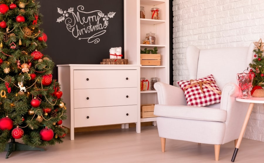 Christmas decorations in a small living room